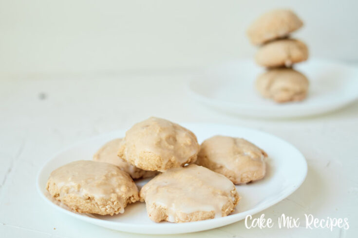 A close up shot of the finished butter pecan cake mix cookies on a plate ready to serve.