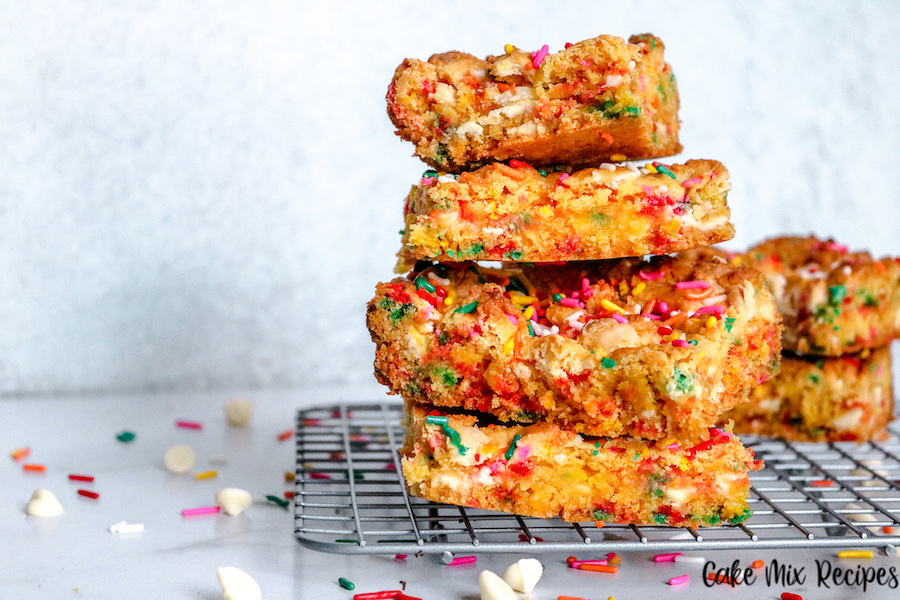 A stack of the finished blondies ready to eat.