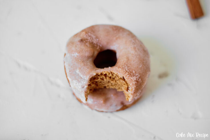 Featured image showing the finished cinnamon donuts with a bite missing ready to be enjoyed.