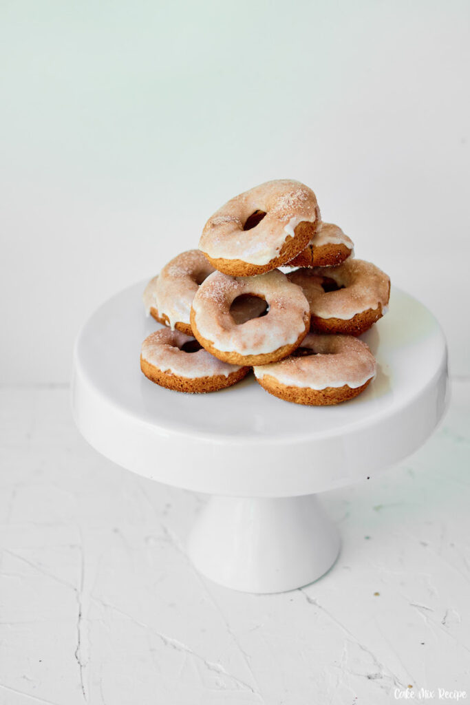 Some finished donuts on a tray ready to share.