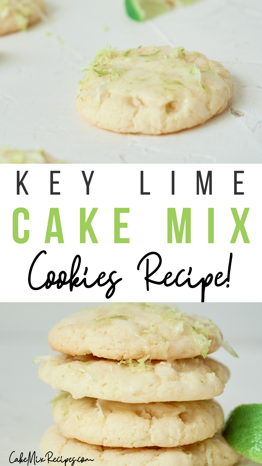 pin showing the finished key lime cake mix cookies ready to eat with title across the middle.