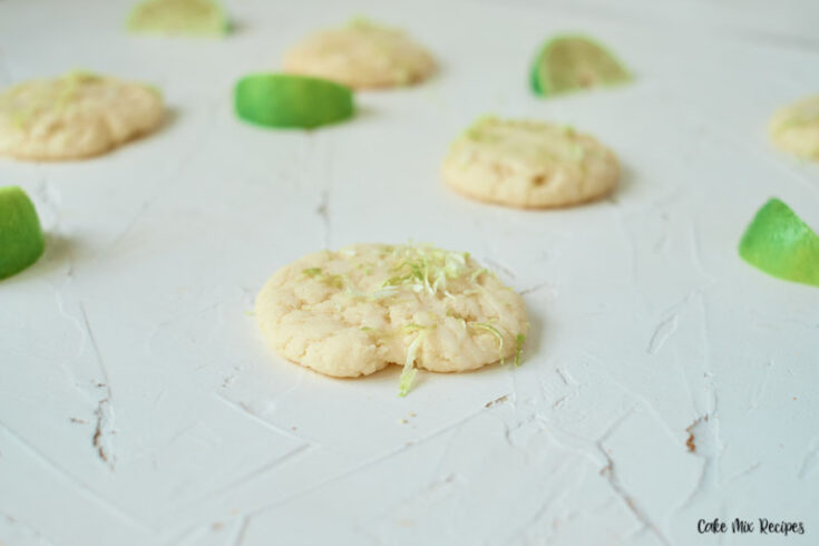 Featured image showing the finished key lime cake mix cookies ready to eat.