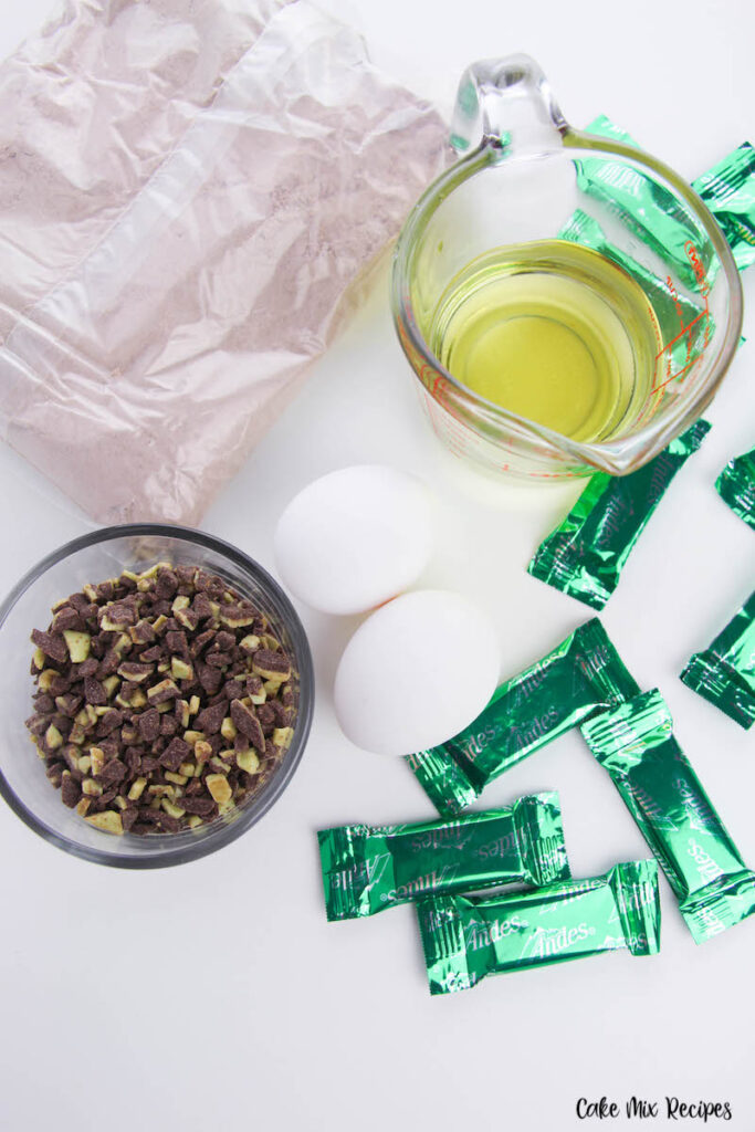 Ingredients for mint chocolate chip cake mix cookies.