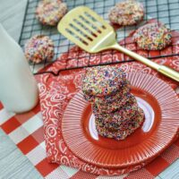 Featured image showing a stack of the finished air fryer cake mix cookies.