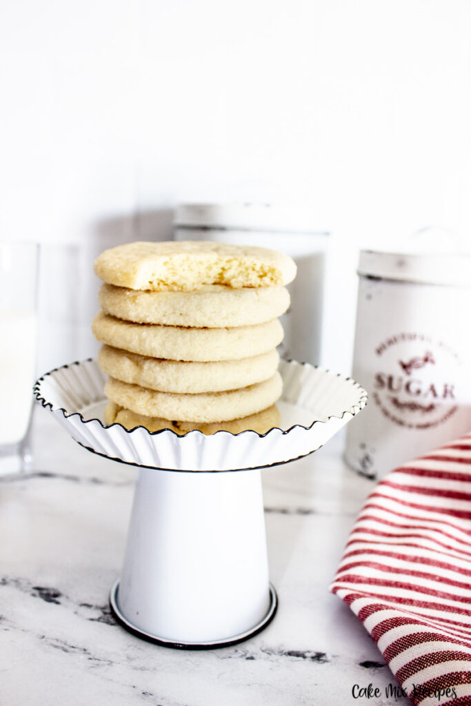 Close up view of the stack of soft cake mix sugar cookies ready to enjoy.