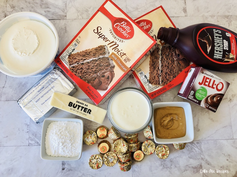 Ingredients needed for the chocolate peanut butter dump cake.