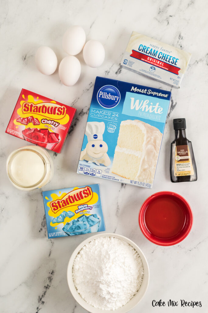 ingredients for making firecracker poke cake recipe.