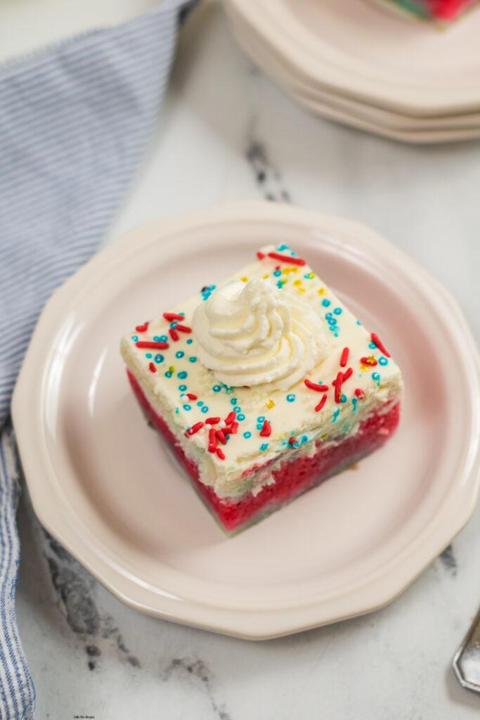 Finished cake sliced and ready to be enjoyed.