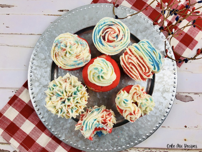 A top down look at the decorated cupcakes ready to eat.