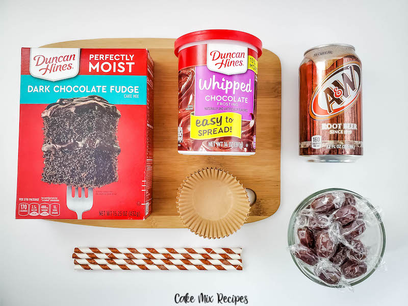 Ingredients needed to make these root beer float cupcakes.