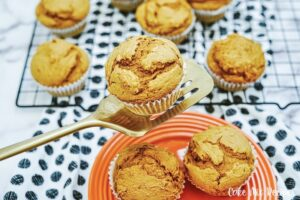 Featured image showing the finished 2 ingredient pumpkin muffins ready to eat.