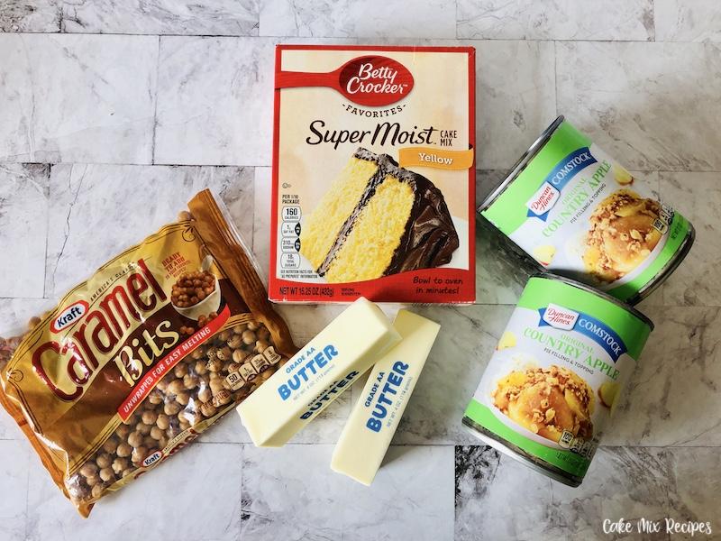 Ingredients needed to make caramel apple dump cake.