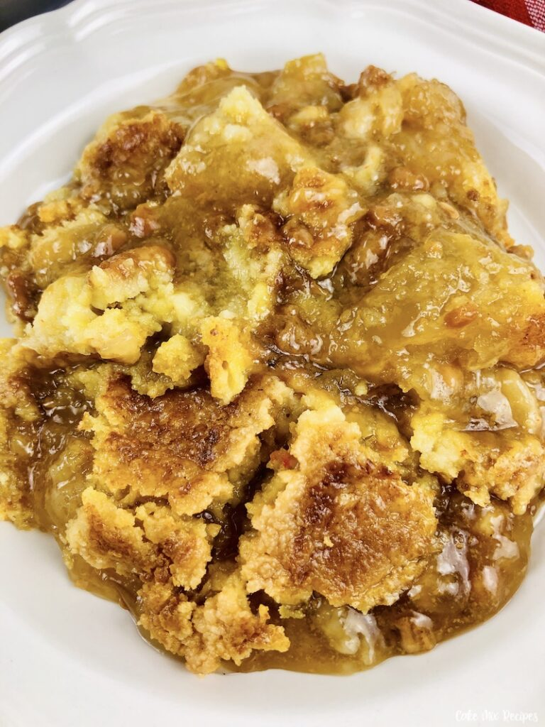 close up of the finished caramel apple dump cake ready to eat.
