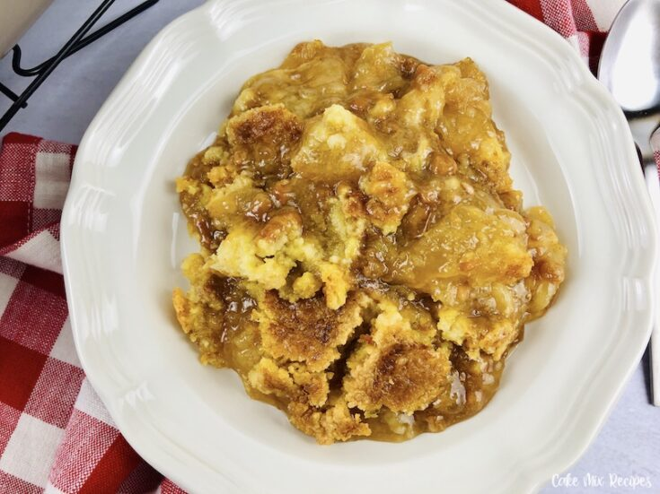A top down look at the finished caramel apple dump cake recipe ready to eat.