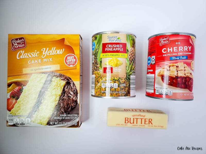 ingredients needed for pineapple cherry dump cake before we start baking.