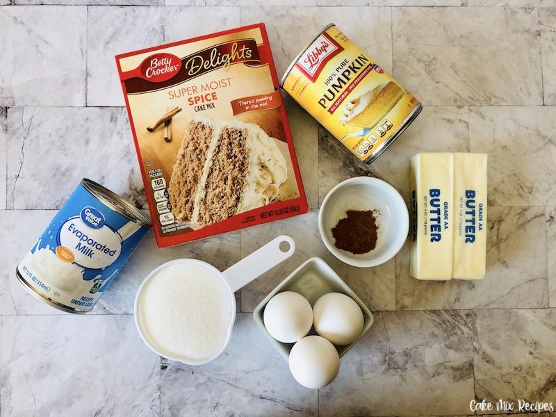 ingredients needed to make delicious pumpkin spice dump cake.