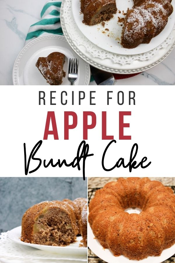 pin showing the finished recipe for apple bundt cake ready to eat.