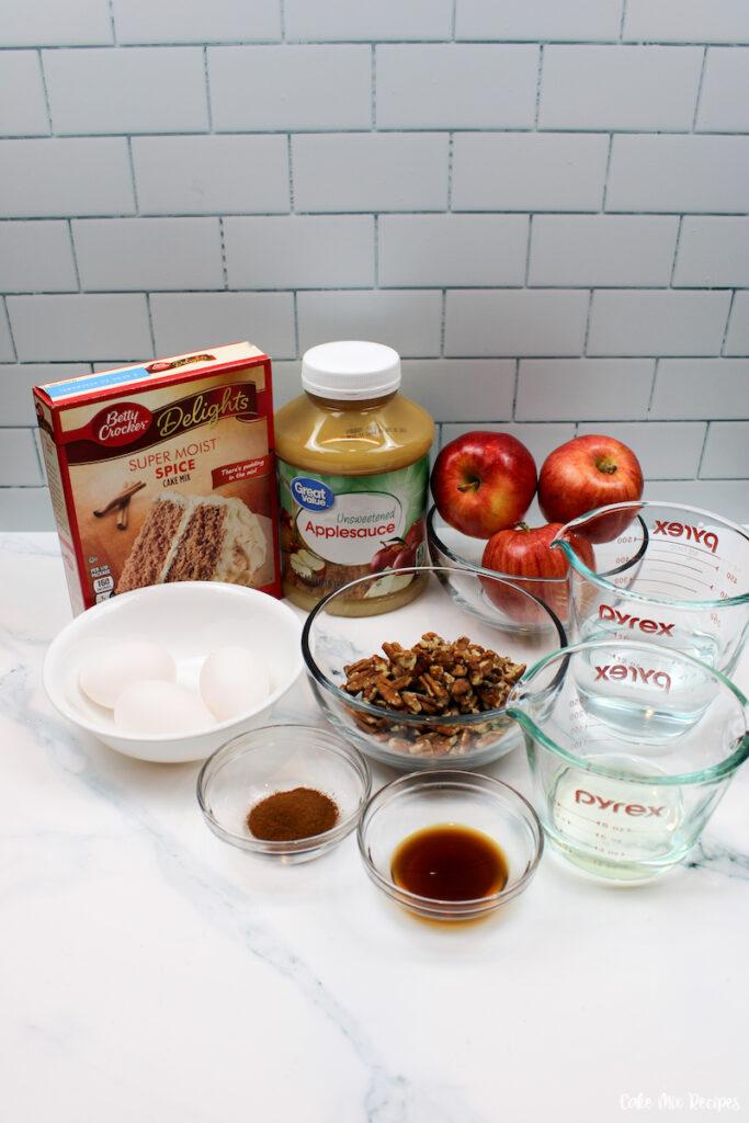 ingredients needed to make recipe for apple bundt cake.