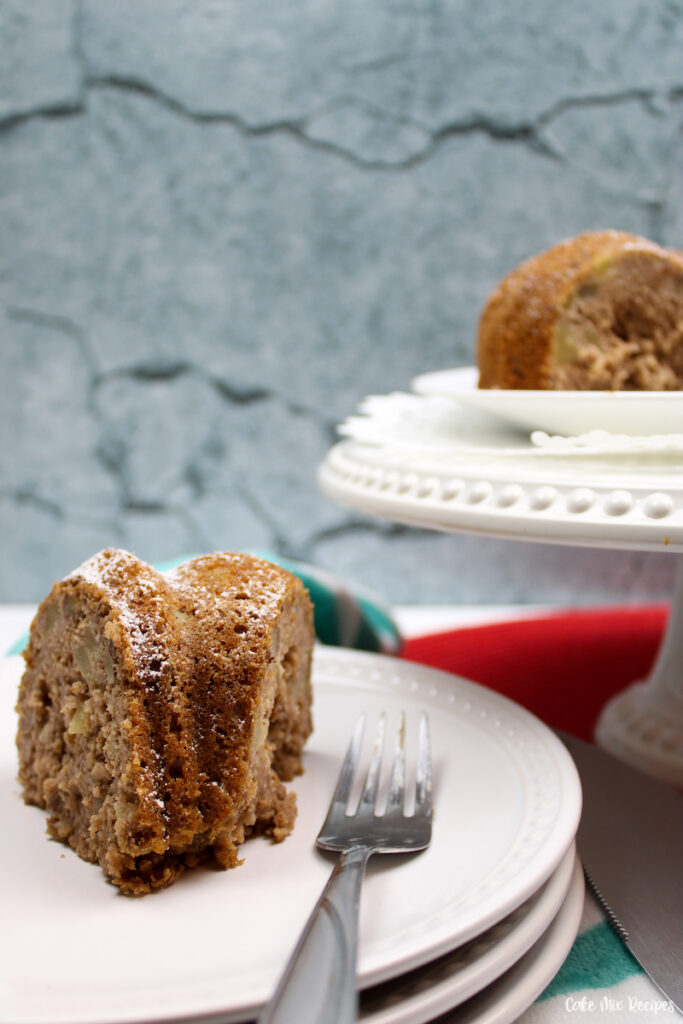a look at the finished slice of apple bundt cake