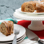 Finished recipe for apple bundt cake sliced and ready to share.