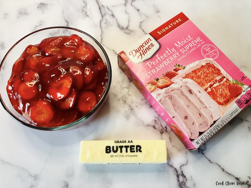 Ingredients for strawberry dump cake laid out before we start baking.