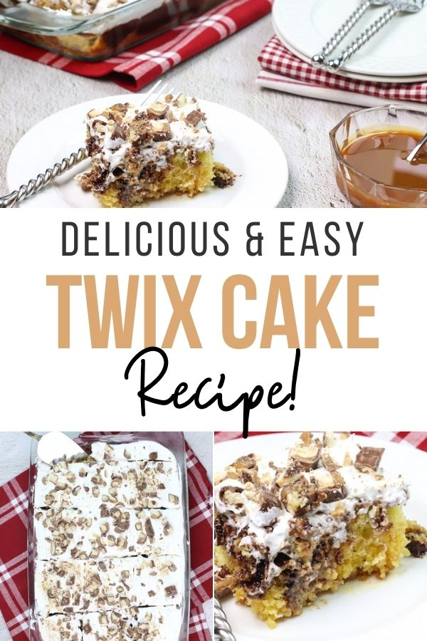 pin showing the finished Twix cake recipe ready to eat.