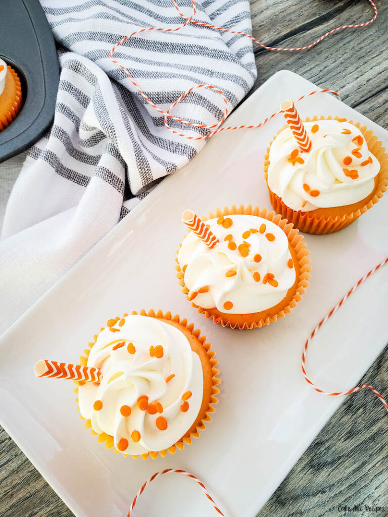 A top down look at the finished creamsicle cupcake recipe ready to eat.