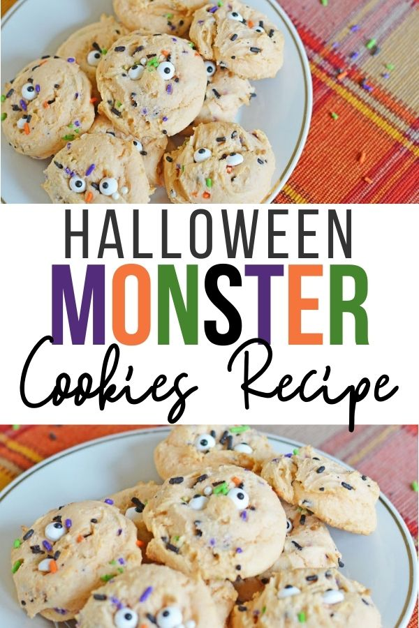 Pin showing the finished Halloween monster cookies ready to eat with title across the middle.