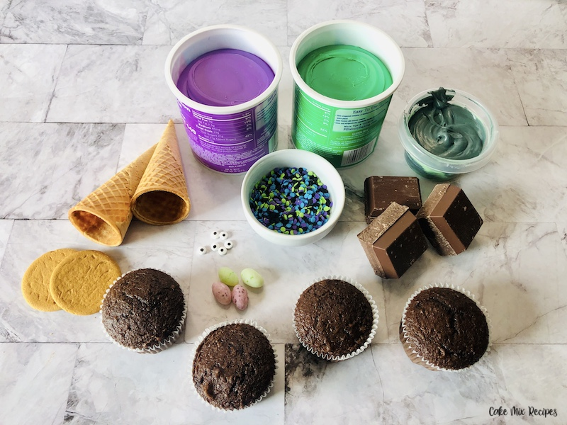 ingredients needed to make halloween witch cupcakes.