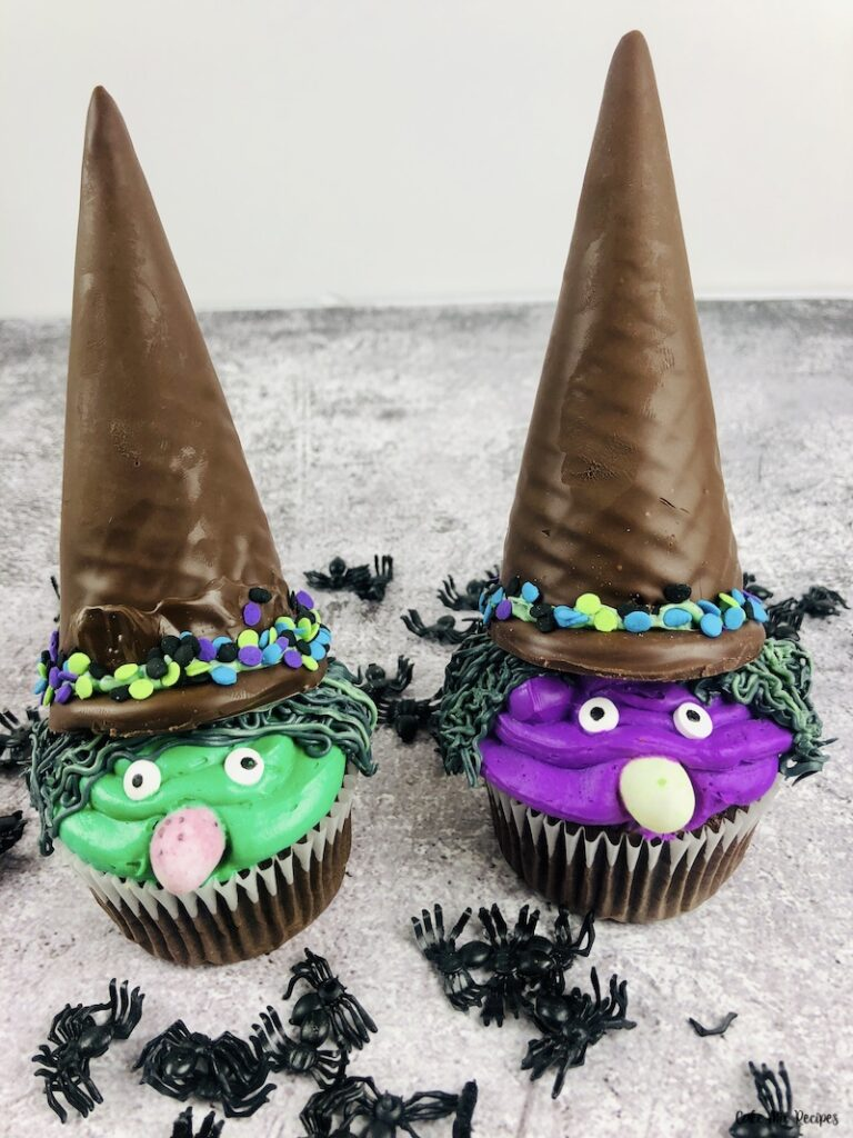 Another look at the finished halloween witch cupcakes ready to eat.