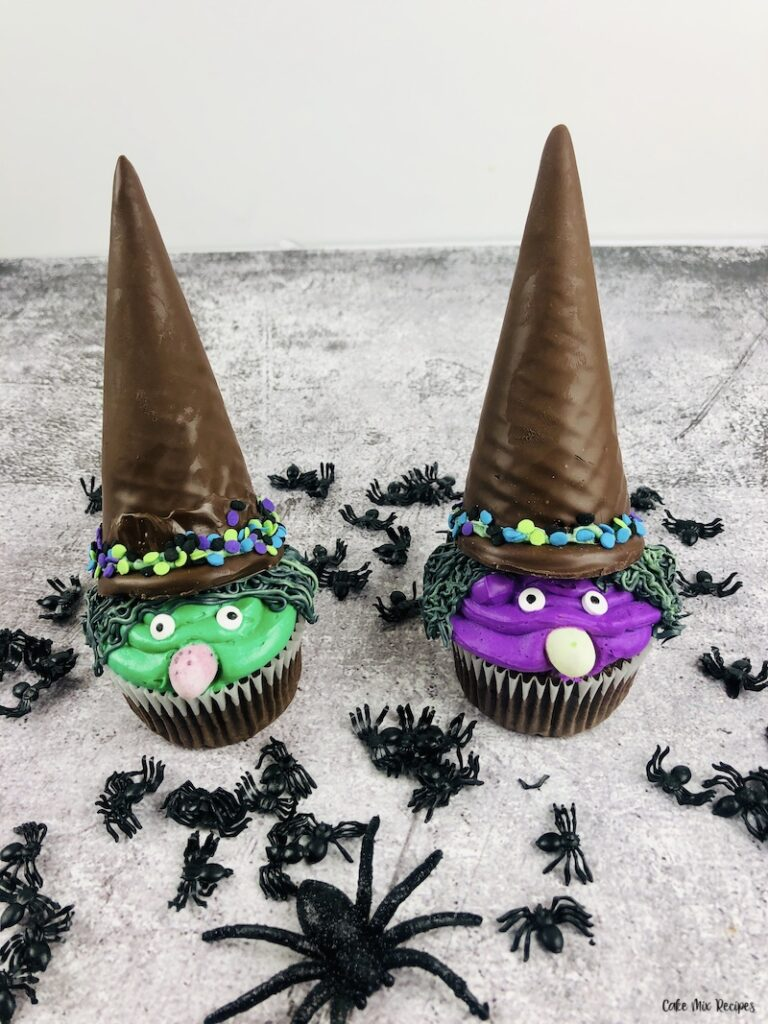 Finished halloween witch cupcakes ready to serve.