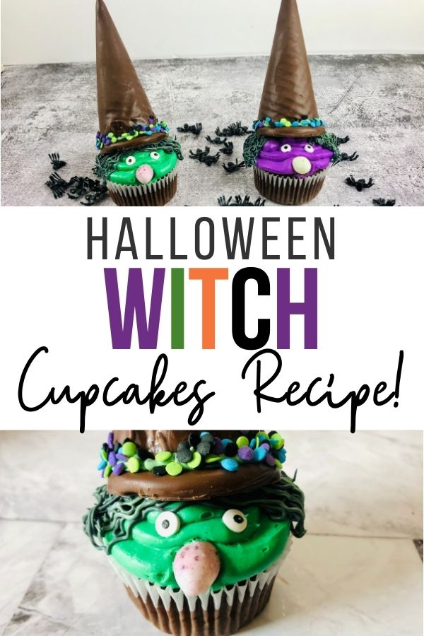 Pin showing the finished halloween witch cupcakes ready to eat.