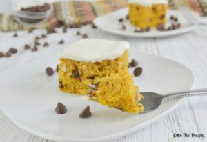 featured image showing the finished pumpkin chocolate chip cake ready to eat.
