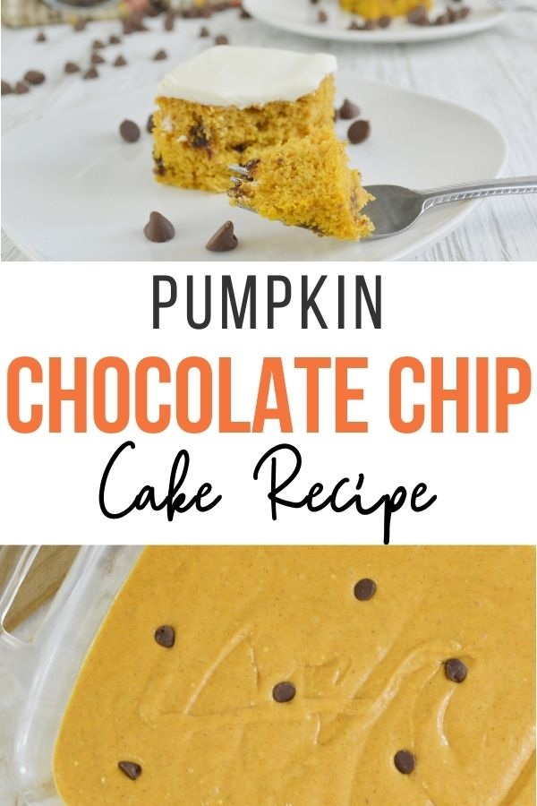 Pin showing the finished pumpkin chocolate chip cake ready to eat.