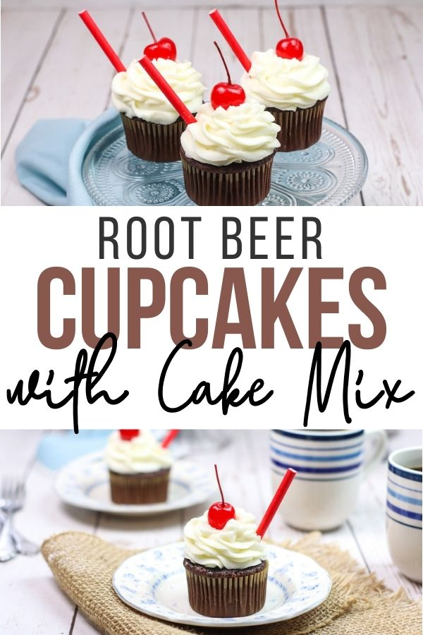 pin showing the finished root beer cupcakes with cake mix ready to eat with title across the middle.