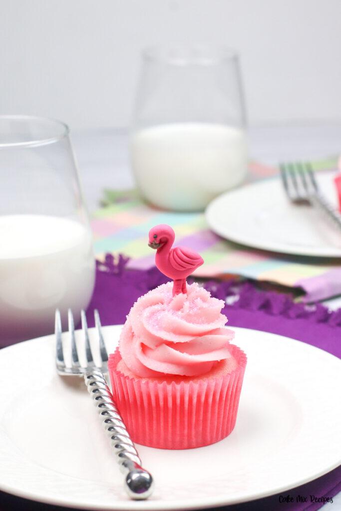A finished strawberry milk cupcake