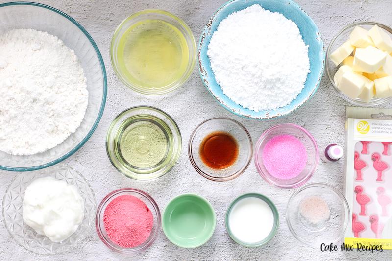 ingredients needed to make strawberry milk cupcakes.