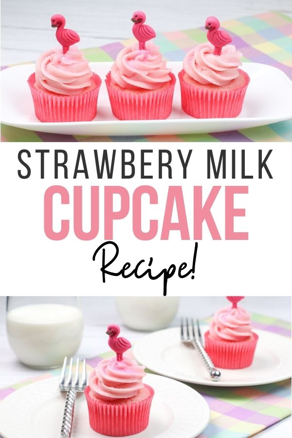 pin showing the strawberry milk cupcake ready to eat.